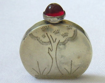 SALE Vtg Sterling Silver Perfume/Snuff Bottle Signed RP has Tree Design Etched in Front, & a Red Cabochon Screw on Cap on its Dauber Top.