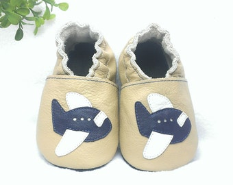Plane soft sole leather shoes, leather baby boy shoes, baby pre-walkers, soft soled baby shoes, baby slippers, toddlers moccasins