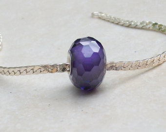 Genuine Amethyst Cubic Zirconia faceted crystal bead-925 sterling silver single core- fits all european style bracelets-(14 x 9 mm)