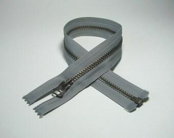 Zipper closure, 32 cm, detachable, gray, metal mesh bronze 5 mm.