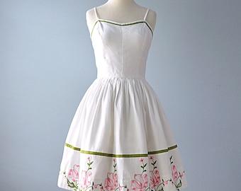 Vintage 1960s Sundress...VICKY VAUGHN White Cotton Pique Sundress and Wrap 27 Inch Waist