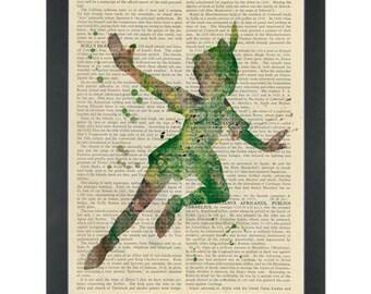 Peter Pan green water color silhouette Dictionary Art Print