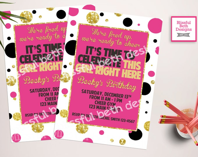 CHEER BIRTHDAY INVITATION, Pink, Black, and Gold Cheer Invitation, Cheer Invitation, Girl Cheer Invitation, Cheer Invite, Girl Birthday