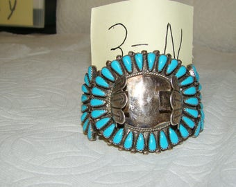 NA 3-N Sterling & Turquoise NA Watch Bracelet