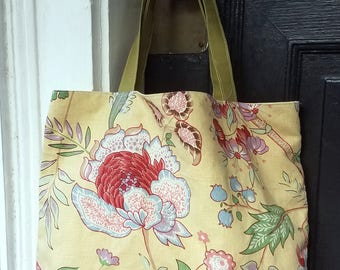 Yellow/Pink/Green Floral tote bag