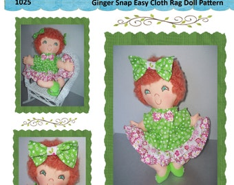 "Easy Cloth Rag Doll PDF Pattern Ginger Snap 15"" Rag Doll Pattern- Easy Beginner PDF Sewing Patterns by Peekaboo Porch"