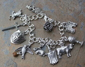 Holy Grail Charm Bracelet- coconut laden swallow, cow, killer rabbit, shrubbery, Tim, castle and more- pewter charms, silver plated chain
