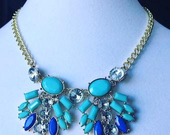 Blue, turquoise bib necklace, good bib statement necklace