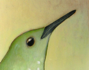 hummingbird portrait bird no. 39 ORIGINAL mixed media bird painting 6 x 6