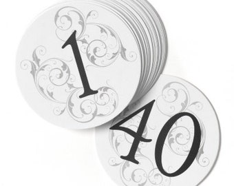 White Round Table Number Cards for Wedding Receptions and Parties