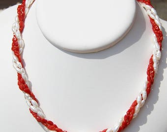genuine red coral necklace Corsica and River pearls