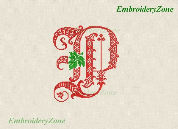 Decor monogram p with leaf embroidery design letter p gothic