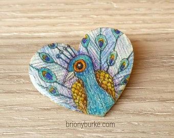 Hand drawn OOAK Handmade Heart Peaco Brooch - Wooden and resin jewellery - Wearable Art - one of a kind - Original Art - Australian Artist