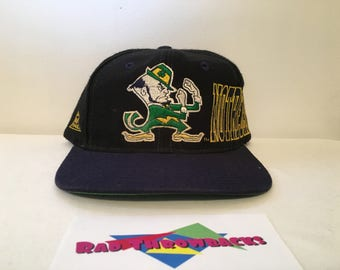 Vintage 1990s Notre Dame Fighting Irish Apex One Big Logo Black/Blue Snapback Hat