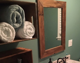 Rustic mirror Reclaimed barn wood framed mirror 1800s barn  wood  -rustic-home decor