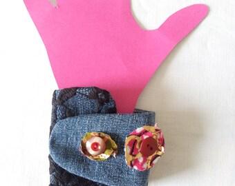 Jean, wax and lace Cuff Bracelet.