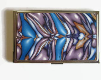 Business Card Case, Credit Card Case, Metal Card Case, Lavender and Blue Design with Gold and White Accents