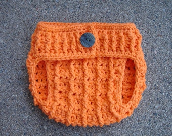 Crochet Pattern for Pumpkin Diaper Cover - 4 sizes, newborn, 0-6 mos, 6-12 mos, 12-24 mos - Welcome to sell finished items