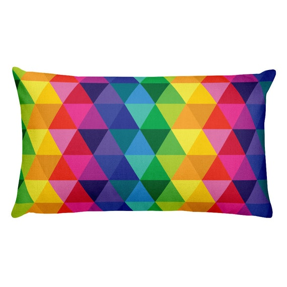 Rectangular Pillow - Throw Pillow - Colors of the Rainbow - Triangles