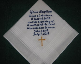 Baptism handkerchief, hanky, hankie 168S with free gift box and free shipping in the US