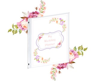 Binder Cover - Printable Wedding Planner Binder Cover Front and back with Multiple Spine Sizes - Organization Binder Cover  Instant Download