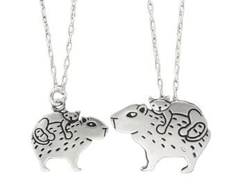 Mother Daughter Cat and Capybara Necklace Set - Set of Two Sterling Silver Capybara Necklaces