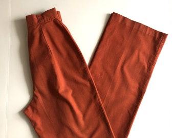 Vintage Women's 70's Burnt Orange, High Waisted, Pants, Straight, Wide Leg (XXS)