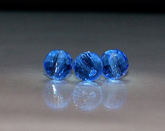 20 pcs 8mm Round Medium Blue Multi-Faceted Glass Beads