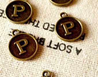 Alphabet letter P charm bronze vintage style jewellery supplies