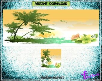 Facebook Cover and Profile Image Design Set , Tropical Design.