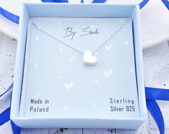 Sterling Silver Heart Necklace, Heart Pendant, Heart Chain, Silver Heart, Heart, little Heart, daily necklace,Heart 3D, 3D pendant, 3D charm