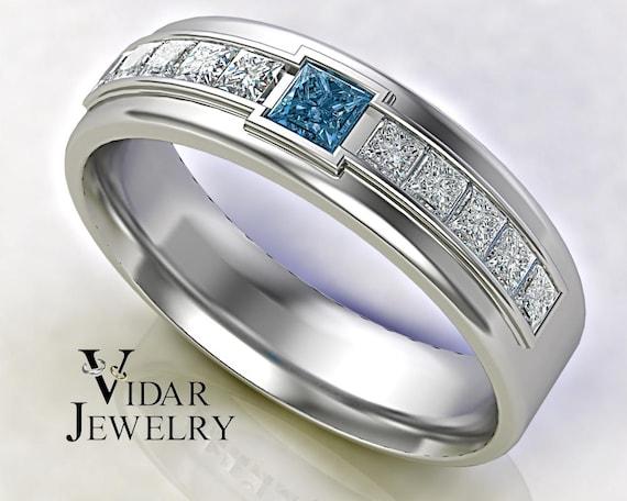 Mens Wedding Band Blue Diamond Wedding Band 14k Mens Blue