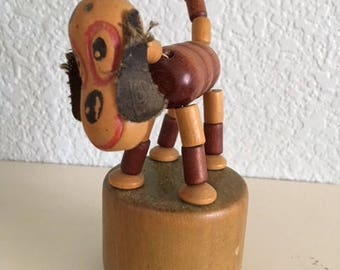 Vintage Push button puppet, collapsible puppet, Happy the Wonder Dog, Kohner Toy Co.