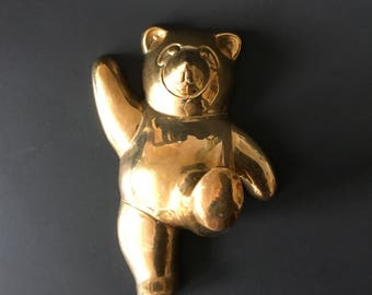Vintage Brass Panda Bear Hook, Handcrafted