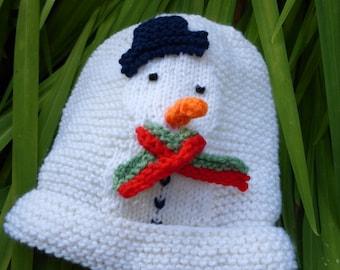 BABY KNITTING PATTERN in pdf - Snowman Baby Hat