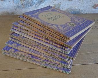 French purple books 12 Classiques Larousse decorative softback books