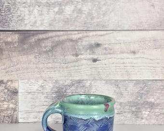 Vintage pottery blue teal mug | coffee mug | tea mug