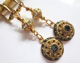 Art Deco earrings Edwardian earrings 1920s bride black diamond vintage crystal earrings Art Nouveau Renaissance dainty bridal earrings