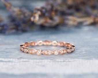 Rose Gold Eternity Wedding Band Women Diamond Stacking Ring Art Deco Antique Bridal Ring Anniversary Promise Gift for Her Milgrain Dainty