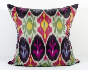 15x15 multicolored ikat pillow cover, green, pink, red, yellow, ikats, ikat cushion, pillow, pillow case, decorative pillow, throw pillow