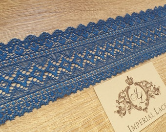 Blue lace trimming,  chantilly lace fabric, lace trim, MK00025