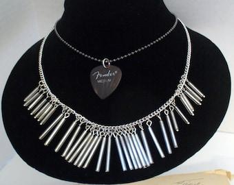 Vintage Guitar Pick Necklace, Vintage Fender Medium Guitar Pick, Multi Chain Necklace, Double Layer Necklace, One of a Kind, MarjorieMae
