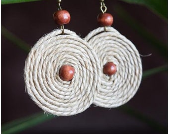 Hemp Earrings, Natural Earrings, Hanging Earrings,