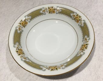 """Noritake Soup Bowl 7 1/2"""" in Autumn Rose by Noritake Autumn Rose 2007 Noritake, Nitto Ware, Noritake Japan, Porcelain,Yellow and Green Plate"""