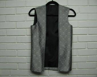 Vintage Silver & Gold Brocade Vest size S