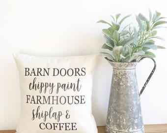 shiplap word pillow, farmhouse pillow cover, fixer upper decor, Joanna Gaines decor, farmhouse style, barn doors chippy paint