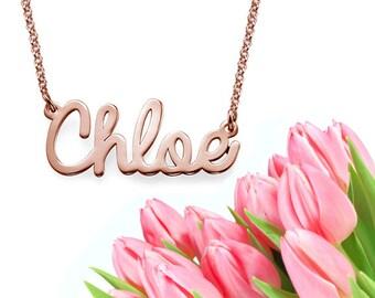 Cursive Name Necklace (rose gold)