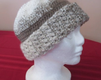 Crocheted Brown / Taupe / Tan / Cream / Cloche / Hat / Beanie / Cap / Cuffed / Variegated