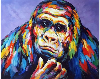 Hand Painted Gorilla Oil Painting On Canvas - Contemporary Impressionist Multi-colored Fine Art CERTIFICATE INCLUDED