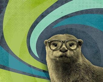 Otter Art - Sea Otter - Otter in Glasses - The Inquisitive River Otter - 8x10 Print